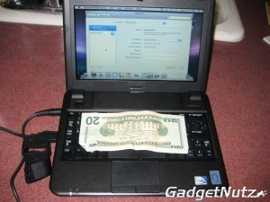 Comparison shot. Dell Vostro A90 versus American 20 dollar bill