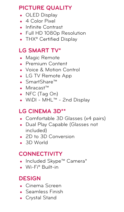 LG OLED curved TV specs