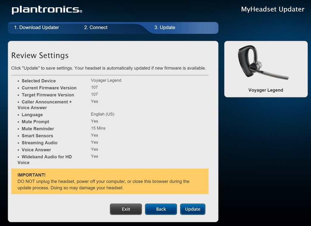 Plantronics firmware update for discovery 975